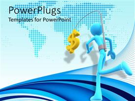 PowerPlugs: PowerPoint template with self motivation metaphor with man wearing harness with gold dollar sign running