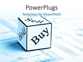 PowerPlugs: PowerPoint template with sell, buy and hold cube on stock market chart and report