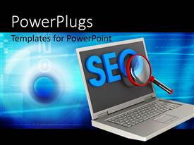 PowerPlugs: PowerPoint template with search Engine Optimization depiction with magnifying glass on laptop