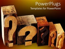 PowerPlugs: PowerPoint template with the sequential placement of wooden question marks