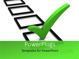 PowerPlugs: PowerPoint template with series of black  boxes, one with large green check mark