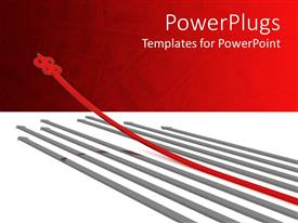 PowerPlugs: PowerPoint template with series of gray arrows with one red arrow and dollar sign