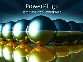 PowerPlugs: PowerPoint template with series of illuminated balls with reflection in water