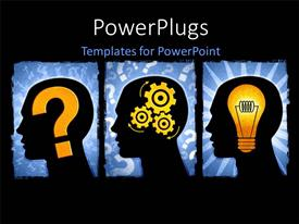 PowerPlugs: PowerPoint template with series illustrating a question, thinking of a solution and the idea to solve the problem with black color