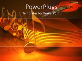 PowerPoint template displaying series of metallic musical notes arranged along a path with Villon in background