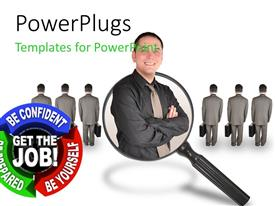 PowerPlugs: PowerPoint template with a person with magnifying glass and white background