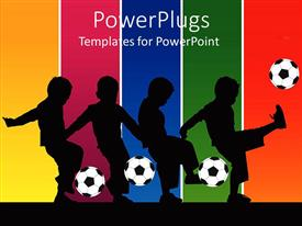 PowerPlugs: PowerPoint template with series of silhouettes showing a boy kicking a soccer ball