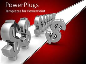 PowerPlugs: PowerPoint template with series of silver dollar signs with one standing out from crowd