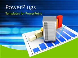 PowerPlugs: PowerPoint template with server and bandwidth statistics over a digital background