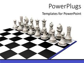 PowerPlugs: PowerPoint template with set of ash chess pieces on a chess beard