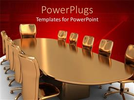 PowerPlugs: PowerPoint template with a set of brown gold colored meeting chairs and a table