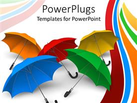 PowerPlugs: PowerPoint template with set of colorful umbrellas displayed on white background