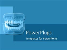PowerPlugs: PowerPoint template with set of dentures on blue geometric background