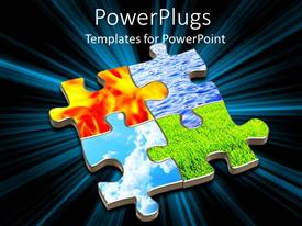 PowerPlugs: PowerPoint template with a set of four puzzles showing the four natural elements