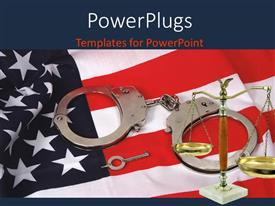PowerPlugs: PowerPoint template with a set of hand cuffs with a justice scale on an American flag