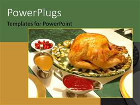 PowerPlugs: PowerPoint template with a set table of a full turkey and different sauces