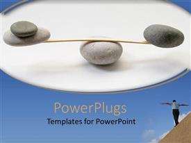 PowerPoint template displaying sets of stones trying to stay balanced on a stone