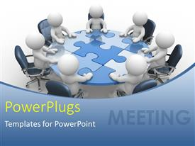 PowerPlugs: PowerPoint template with seven 3D human characters sitting round a puzzle table