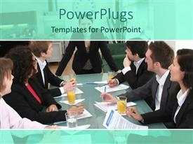 PowerPlugs: PowerPoint template with seven adult males and females wearing back suites having a meeting