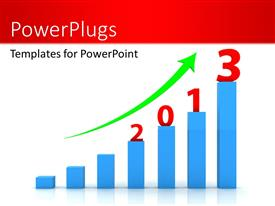 PowerPoint template displaying seven blue colored bars with a green arrow and 2013 figures