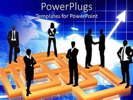 PowerPlugs: PowerPoint template with seven business men and women standing over a graph background