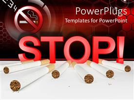PowerPlugs: PowerPoint template with seven cigarettes and 3D red stop sign with no smoking sign in the top left corner on red cells background