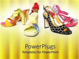 PowerPoint template displaying seven different legs of female shoes on a yellow background