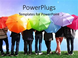 PowerPlugs: PowerPoint template with a lot of people with colorful umbrellas