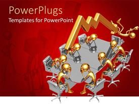 PowerPlugs: PowerPoint template with seven gold figures sit around chrome conference table while arrow knocks eighth figure out of chair