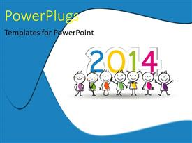 PowerPoint template displaying seven human cartoon characters with 2014 figures on a white background