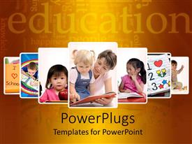 PowerPlugs: PowerPoint template with seven layered tiles of kids having fun and learning