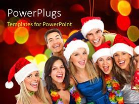 PowerPoint template displaying seven people wearing Christmas caps smiling happily