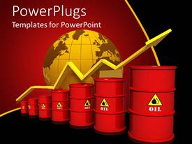 PowerPoint template displaying seven red oil barrels in chart line with yellow rising arrow and yellow globe on red and black background