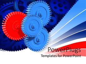 PowerPlugs: PowerPoint template with several blue gears with one distinct red gear