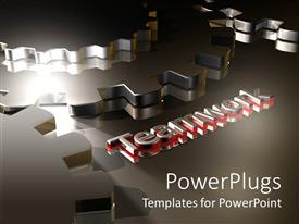 PowerPoint template displaying several chrome gears with text 'teamwork' in red and silver