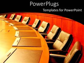 PowerPlugs: PowerPoint template with several empty chairs situated around conference table with closed envelopes at each setting