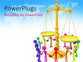 PowerPlugs: PowerPoint template with several figures in various colors joining hands around golden balance scale