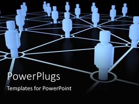 PowerPlugs: PowerPoint template with several glowing blue figures connected by lines