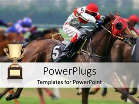 PowerPlugs: PowerPoint template with several horses racing in green field with trophy in background