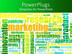PowerPoint template displaying several marketing terminologies written colorfully on white background