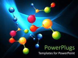 PowerPlugs: PowerPoint template with several molecules and atoms in different green red blue colors