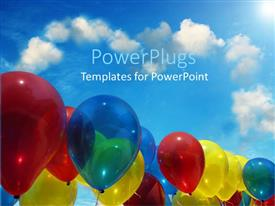 PowerPlugs: PowerPoint template with several red blue yellow colored balloons light blue sky with heart shape clouds