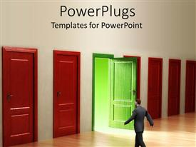 PowerPoint template displaying several red shut doors and open green door with business man going to door