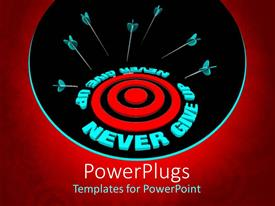 PowerPlugs: PowerPoint template with several target arrows missing the center mark with text 'never give up'