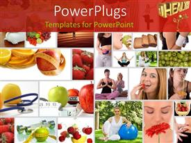 PowerPlugs: PowerPoint template with several tiles with depictions of humans food and measuring tape