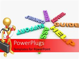 PowerPlugs: PowerPoint template with several words such as Help and Assist in a ring and businessman with lifebuoy