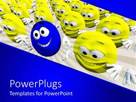 PowerPlugs: PowerPoint template with several yellow smiley faces smiling with one blue distinct smiley face