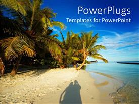 PowerPlugs: PowerPoint template with shadow of happy couple on beach sand with palms and blue sky
