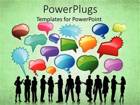 PowerPlugs: PowerPoint template with shadow images of people and different colored and shaped thought bubbles