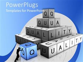 PowerPlugs: PowerPoint template with shadow of man stacking bricks to spell 'quality' with blue and white background